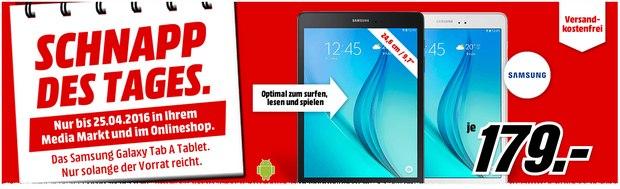 Schnapp des Tages am 25.4.2016: Samsung Tablet GalaxyTab A für 179 €