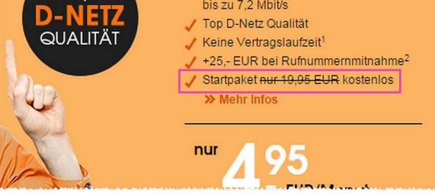 callmobile 4,95 € Tarif mit gratis SIM-Karte bis 22.2.2016