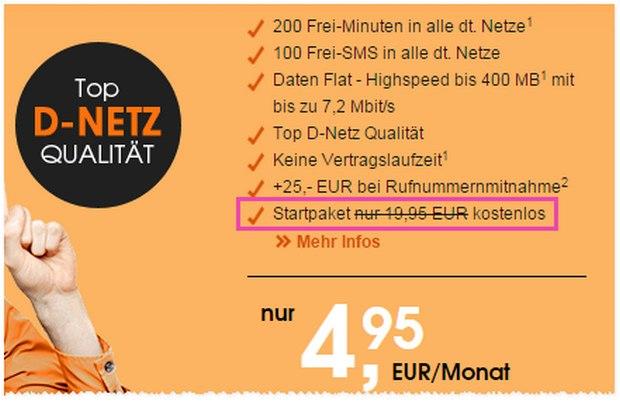 callmobile SIM-Karte gratis statt 19,95 €, Tarif monatlich kündbar: Die Sonderaktion bis 19.12.2015 ohne 19,95 € Anschlusspreis ist ein Knaller