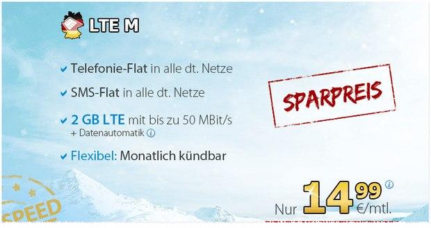 DeutschlandSIM Winter-Special LTE M für 14,99 € ohne Laufzeit