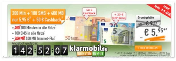 Klarmobil Allnet Starter mit Geld zurück Cashback