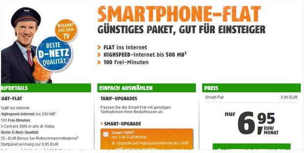 Klarmobil Smart-Flat-Werbung für 6,95 € mit 100 Minuten und 500 MB Internet-Flat