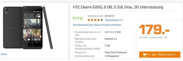 Saturn Montagsangebot am 21.12.2015: HTC Desire 626G für 179 Euro