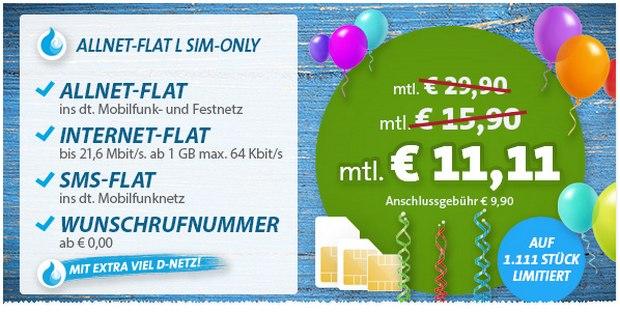 Sparhandy Allnet-Flat L für 11,11 Euro