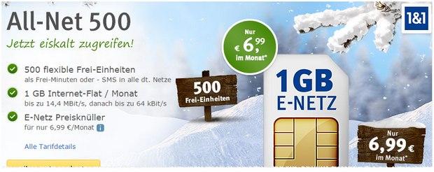 WEB.DE Handytarif im E-Plus-Netz: All-Net 500 für 6,99 €