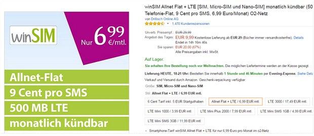 winSIM Allnet-Flat + LTE für 6,99 Euro