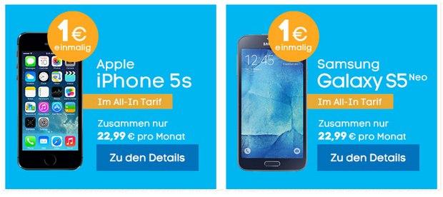 Blau Allnet-Flat mit Handy - z.B. iPhone 5S oder Samsung Galaxy S5 Neo - für nur 22,99 € pro Monat