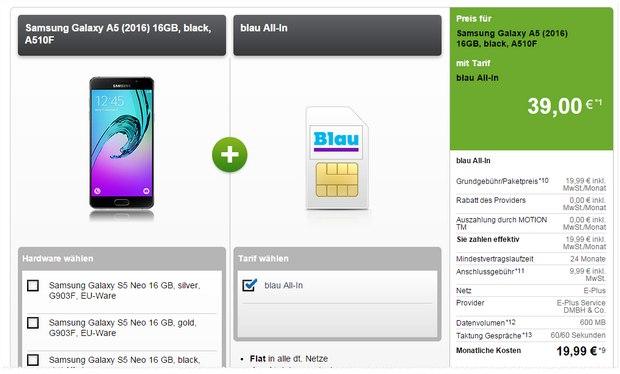 Blau Allnet-Flat + Samsung Galaxy A5 (2016) für 19,99 € pro Monat