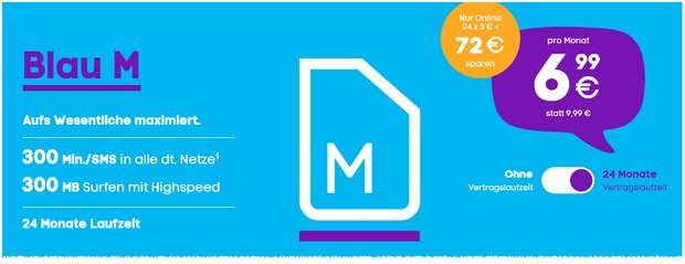 Wählt ihr den Blau M Handytarif mit Laufzeit, gibt es derzeit sogar 3 € monatlichen Rabatt auf die Grundgebühr