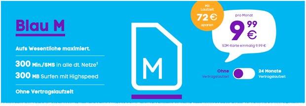 Der Blau M Handytarif ohne Laufzeit kostet monatlich 9,99 €, kann dafür aber flexibel gekündigt werden