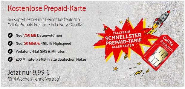 CallYa Smartphone Special: Schnellster Prepaid-Tarif aller Zeiten von Vodafone für 9,99 € aus der Werbung
