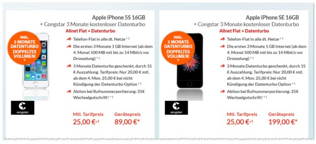 Congstar Allnet-Flat als iPhone SE Handyvertrag