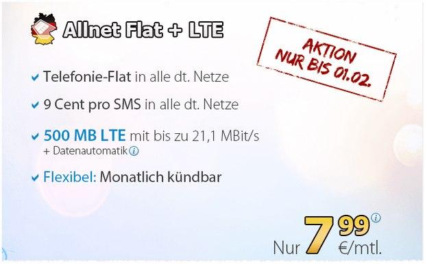 DeutschlandSIM Allnet-Flat für 7,99 Euro