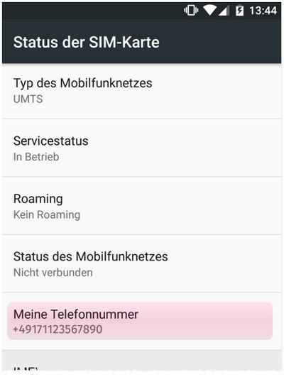 Eigene Android-Mobilfunknummer anzeigen lassen