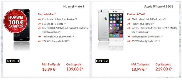 Eintracht-Tarif + Huawei Mate S mit 100 € Cashback