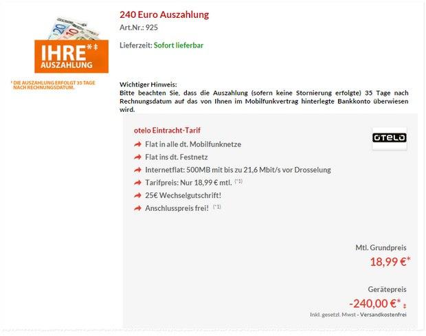 Eintracht-Tarif mit 240 € Auszahlung