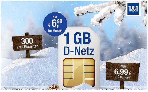 GMX Allnet 300: 6,99 € mtl. für 300 Einheiten + 1 GB Internet-Flat