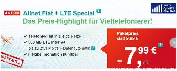 helloMobil Allnet-Flat + LTE Special für 7,99 Euro