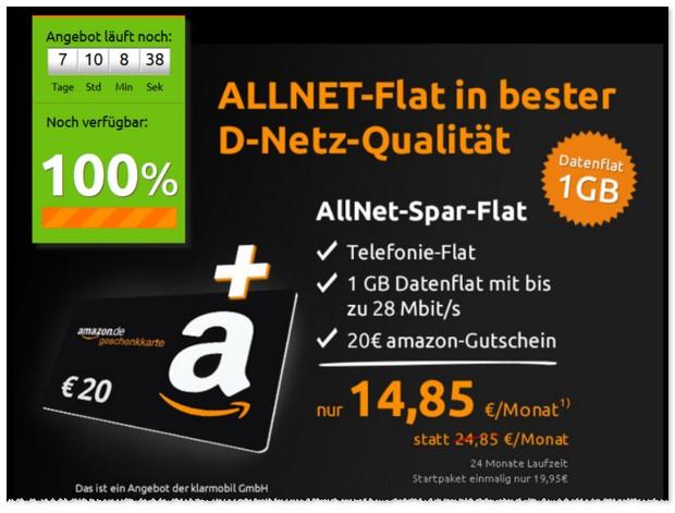 Klarmobil Allnet Spar Flat im D1 Netz