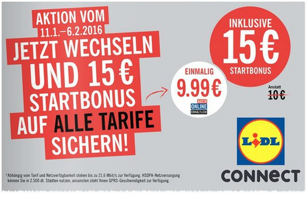 LIDL CONNECT Handytarif mit 15 € Start-Bonus ab 11.1.2016
