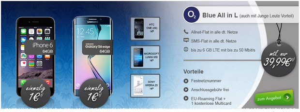 o2 Blue All-in L mit Handy: Modeo-Aktion mit Smartphones ab 1 €, z.B. iPhone 6