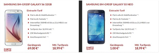 Otelo Eintracht-Tarif mit Samsung Galaxy S6 für 18,99 € bei 69 € Zuzahlung
