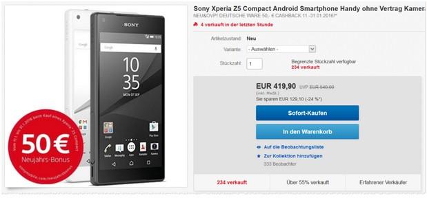 Sony Neujahrsbonus für das Sony Xperia Z5 compact ohne Vertrag