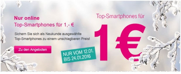 Telekom Werbung mit 1-Euro-Smartphones