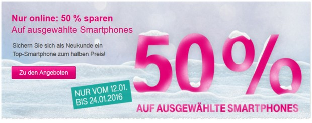 Telekom Werbung mit 50 Prozent Rabatt