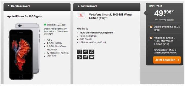 Vodafone Smart L + iPhone 6S bei Handyflash für 34,99 € pro Monat