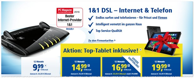 1&1 DSL-Tarif und Tablet inklusive