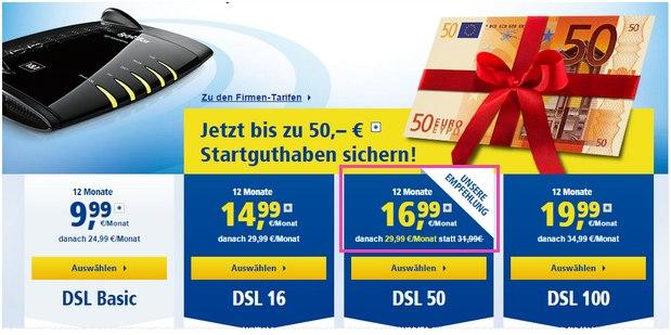1&1 DSL 50 Preissenkung auf 29,99 € nach 12 Monaten