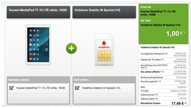 3GB D2 Internet-Flat (3GB) + Huawei MediaPad T1 10 LTE