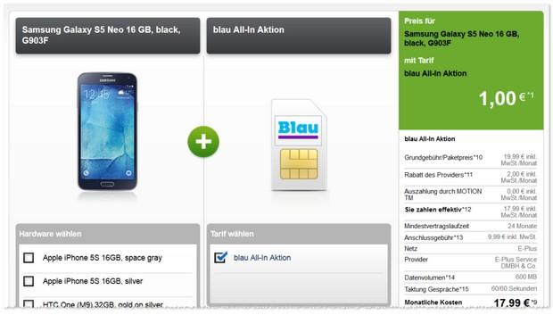 Blau Allnet-Flat (600 MB) + 1 Euro Handy