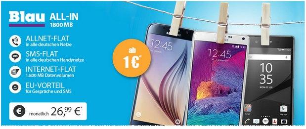 Blau Allnet-Flat Aktion bei Handyflash mit 1,8 GB Internet-Flat für 26,99 Euro