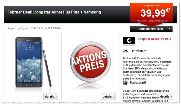 Congstar Allnet Flat Plus mit dem Samsung Note Edge Handy / Phablet