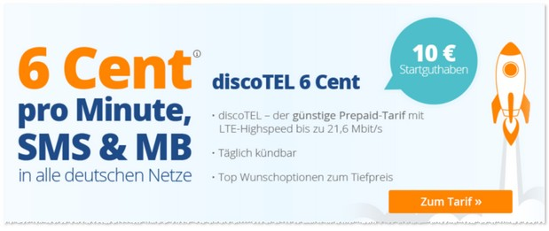 discoTEL 6 Cent Prepaid-LTE-Tarif