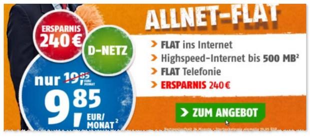 Klarmobil Allnet-Spar-Flat unter 10 Euro