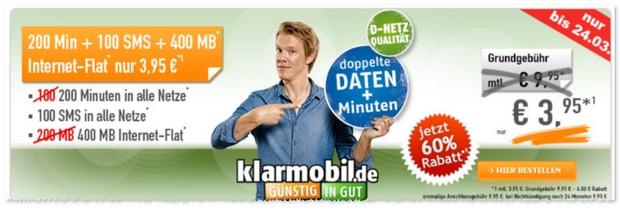 Klarmobil Allnet-Starter für 3,95 €