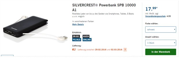 LIDL Technik-Angebot ab 29.2.2016: Silvercrest Powerbank