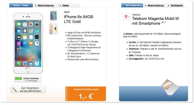 Telekom Magenta Mobil M Handyvertrag mit iPhone 6S