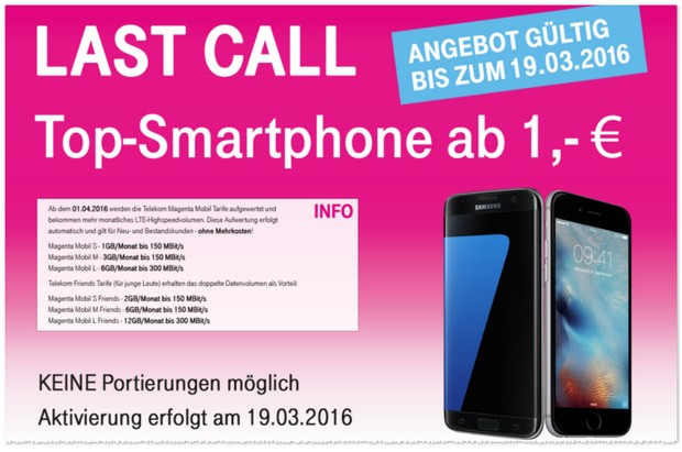Magenta Mobil M mit Samsung Galaxy S7 edge / iPhone 6s 64GB