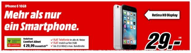 Media Markt Handyvertrag mit iPhone 6