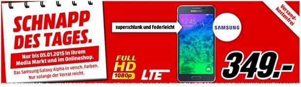 Media Markt Schnapp des Tages am 5.1.2015: Samsung Galaxy Alpha für 349 €