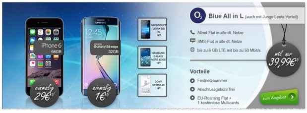 o2 Blue All-in L Handyvertrag bei Modeo