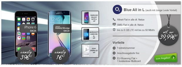 o2 Blue All-in L Tarif mit Handy bei Modeo