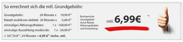 o2 comfort Allnet-Flat von mobilcom-debitel für effektiv 6,99 €