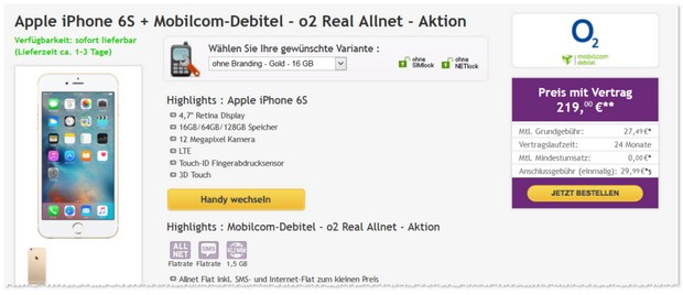 o2 Real Allnet (md) als iPhone 6s Handyvertrag