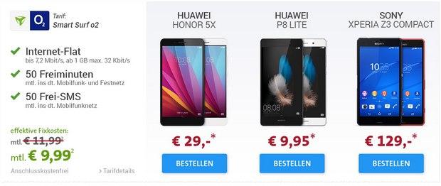 o2 Smart Surf (md) Handyvertrag für 9,99 € bei sparhandy mit 3 Handys ab 4,95 € Zuzahlung