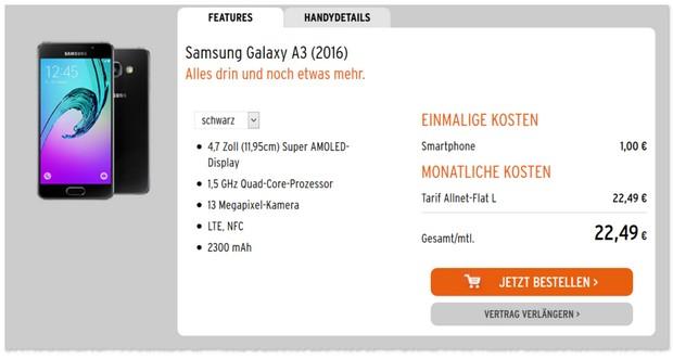 otelo Allnet Flat l + Samsung Galaxy A3 (2016)